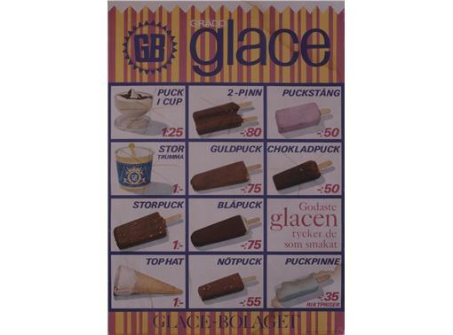 Glasskarta från 1964, en av de första där glassarna var avfotograferade. Blåpuck hade pistagesmak.